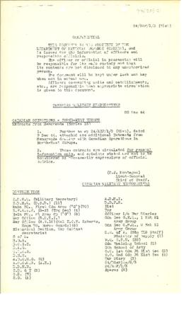 74(20)-1i Canadian Operations in Northwest Europe August - November 1944 Extracts from War Diaries and Memoranda Series 15