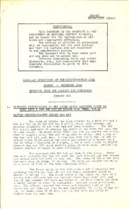 Canadian Operations in the Mediterranean Area August - novemebr 1944 Extracts from War Diaries an...