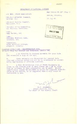 Canadian Operations Mediterranean Area May 1944 Extracts from War Diaries and Memoranda Series 22