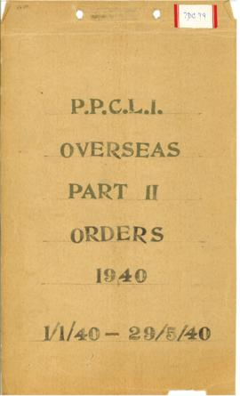 PPCLI Overseas Part II Orders 1940