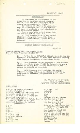 74(20)-1c Canadian Operations in Northwest Europe August - September 1944 Extracts from War Diari...
