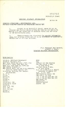 Canadian Operations in the Mediterranean Area May - September 1944 extracts from War Diaries and ...