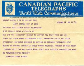 John Henry Richardson notification of wounding telegram 19.1.12 1